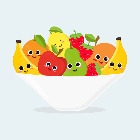 Fruit platter with cute fruits, funny apple, banana, orange, pear, lemon and apricot in plate.