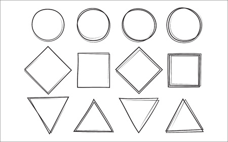 Set of the hand drawn scribble circle and square and triangle, isolated on white background. Vector illustration.