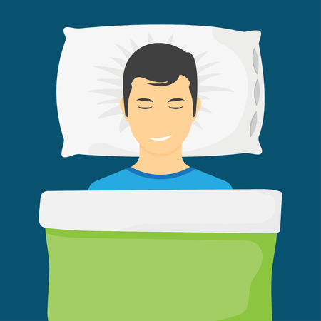Sleeping man lying on a pillow and dreaming at night. Man is sleeping in his bed. Vector illustration Illustration