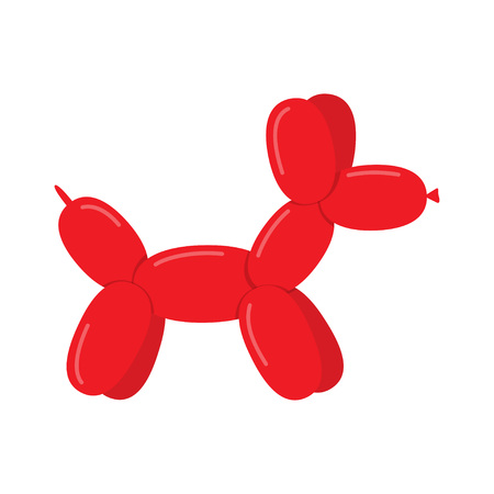Red Dog made with a balloon, isolated on white background. Vector Illustration 向量圖像