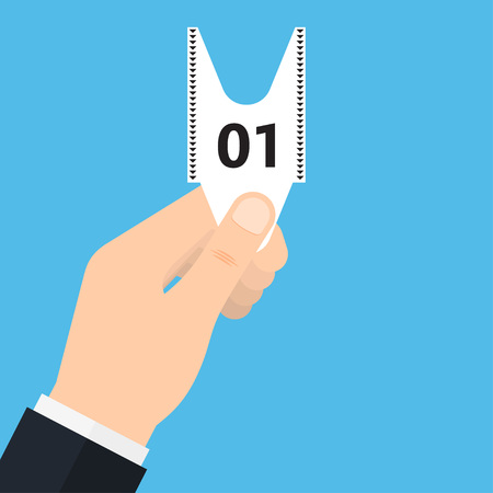 Queue number ticket in hand. Shopping queue ticket. Vector Illustration