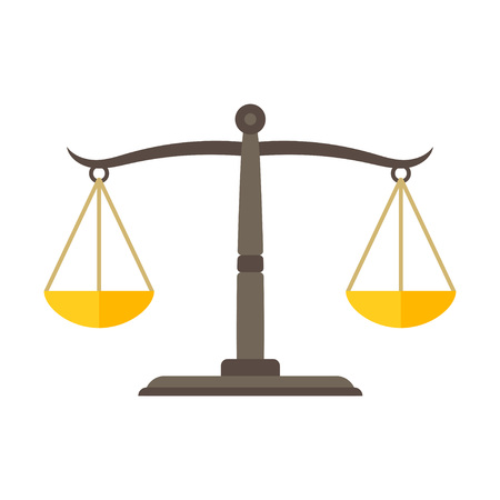 Scales of justice icon illustration.