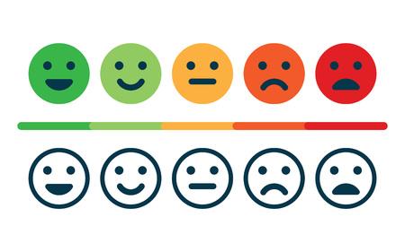 Évaluation de la satisfaction sous forme d'émoticônes.