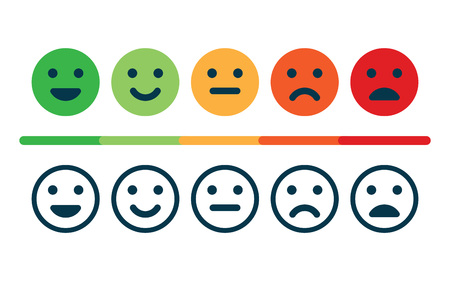 Rating satisfaction feedback in the form of emoticons. Stock Vector - 96606659