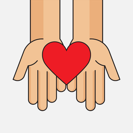 donation give and share your love to poor people, charity with heart symbol on hands, vector illustration
