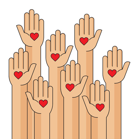Charity event, hands raised, heart in the palm of your hand, vector illustration