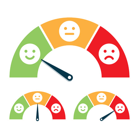Feedback concept, valuation by emoticons. Vector illustration