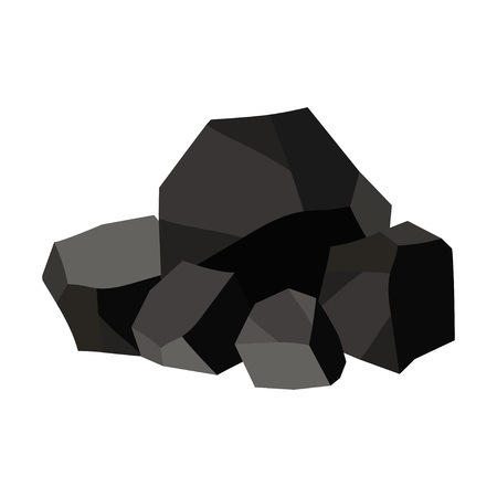 Pile of charcoal, graphite coal. Vector illustration on white background Çizim