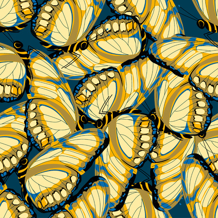 seamless pattern with yellow beige butterflies on blue, background with butterflies