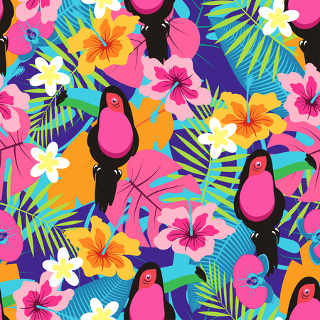 seamless tropical pattern with palm leaves, flowers and birds, vivid colorful floral background with tuakanas