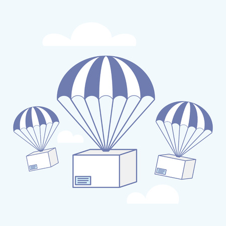Package flying on parachute, delivery in air concept. Vector illustration Vectores