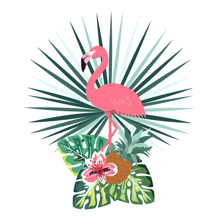 A summer banner with pink flamingo, tropical flowers, palm leaves and pineapple, cute florist background, card with exotic plants and pink flamingos Illustration