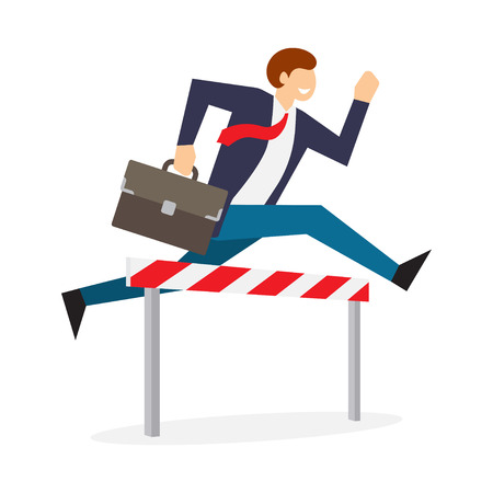 Achieving goal. Businessman jumping over hurdle. Business challenge, successful overcoming. Vector illustration