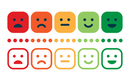 Rating satisfaction. Feedback in form of emotions. Excellent, good, normal, bad awful Vector illustration Ilustração
