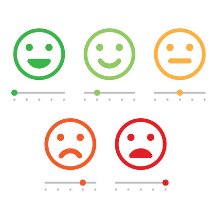 Rating satisfaction. Feedback in form of emotions. Excellent, good, normal, bad awful Vector illustration Vettoriali