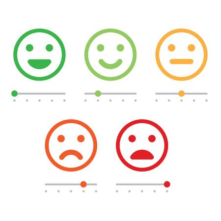 Valoración de la satisfacción. Retroalimentación en forma de emociones. Excelente, buena, normal, mala horrible ilustración vectorial