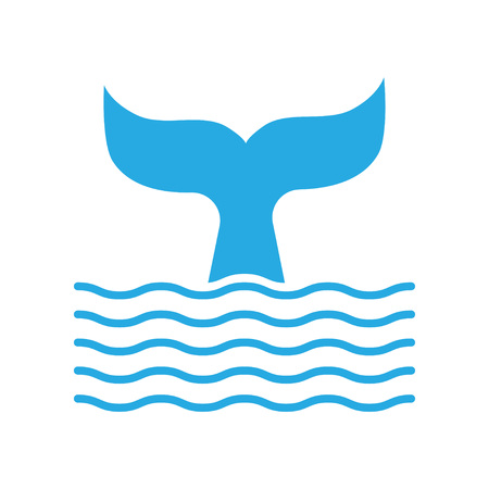 Abstract symbol of whale tail and sea wave. Vector illustration