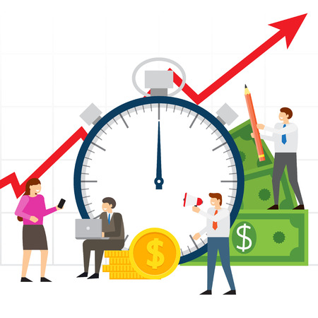 Time is money, financial investments, beneficial investment in a successful business in a short period of time. team of people working on business