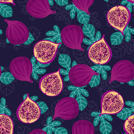 seamless pattern with whole and half pieces of figs and leaves on dark blue background, tropical fruit wallpaper