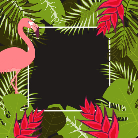 summer color banner with flamingo and mallow leaves, tropical cute frame for any inscription