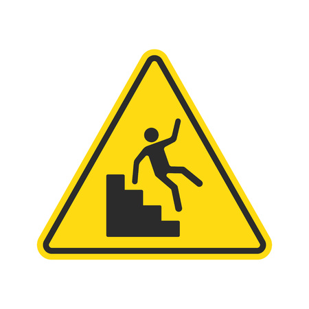 Warning falling off the stairs sign. Yellow triangle with falling man on stairs. Workplace safety and injury vector illustration.