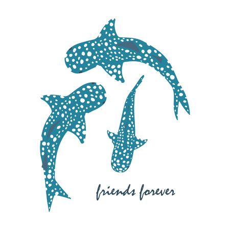 Set of whale sharks and inscription friends forever vector illustration