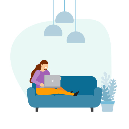 Woman sitting with laptop computer on the sofa at home and working. vector illustration