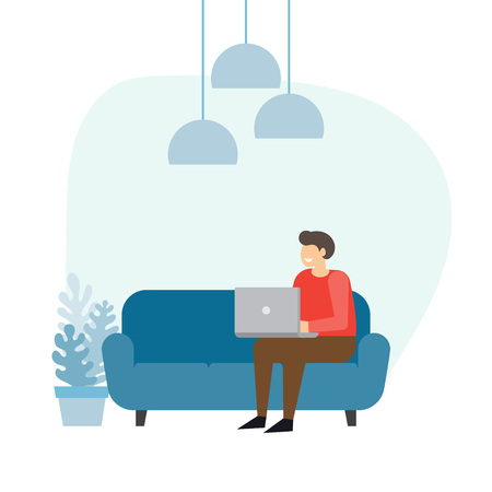 Man sitting on the sofa at home interior and working with laptop. Freelancer vector illustration.