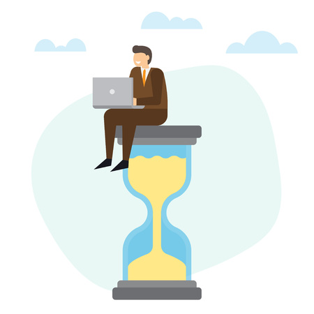Businessman with laptop sitting on big hourglass. Time Management concept. Vector illustration