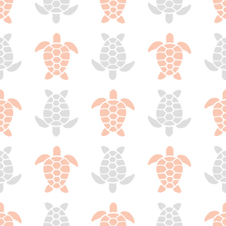 pattern with pink and gray turtles on white, background with bright creepers 矢量图像