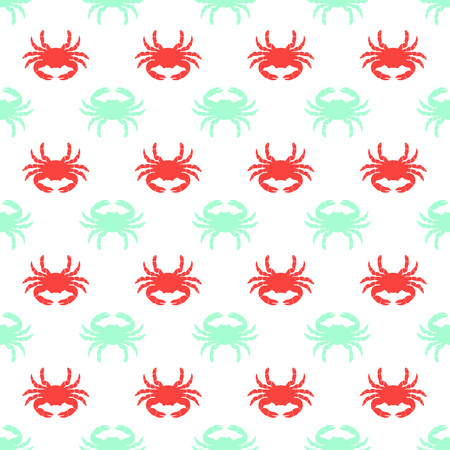 simple seamless pattern with colored crab on white, wallpaper with sea fauna Illustration