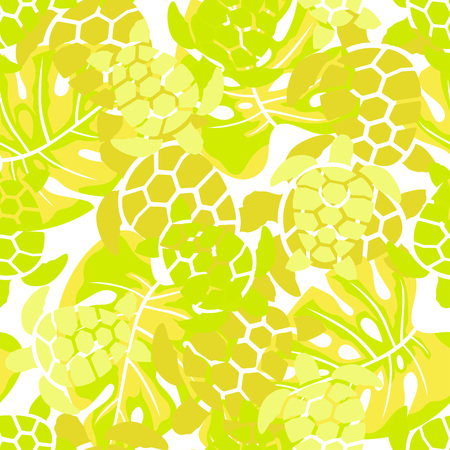seamless pattern with turtles and palm leaves on white, wallpapers with sea and floral design in green golden colors Illustration