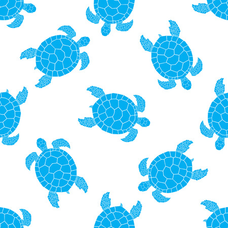 Seamless pattern with sea turtles. Cheloniidae. Animal world under water. Vector illustration. Illustration
