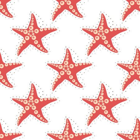 simple pattern with red sea stars on white, sea wallpaper, design with underwater world