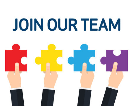 Hands holding puzzle pieces together. JOIN OUR TEAM, teamwork and cooperation. Vector illustration
