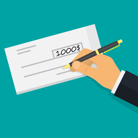 Hand holding pen filling a cheque. bank check payments. vector illustr Illustration