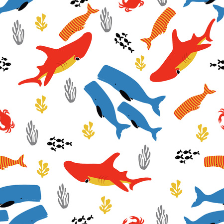 pattern with fish, coral and seaweed, colored background with sea elements, wallpaper with underwater inhabitants