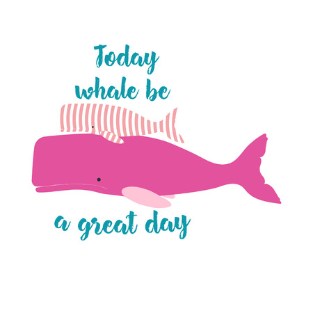 cute cartoon card with pink sperm whales and the inscription for wonderful day, background with marine elements