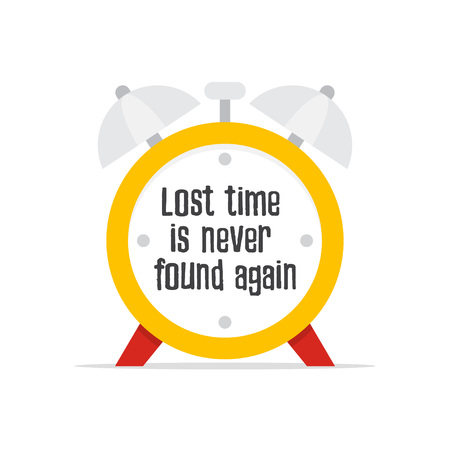Lost time is never found again. Quote with clock background.