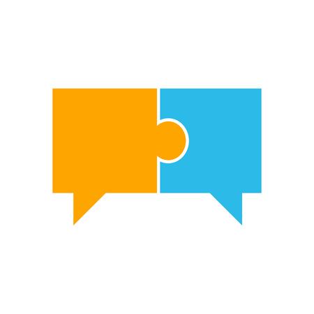 Speech Bubble In Puzzle. Two pieces of connected puzzle speech bubble. vector illustration Vettoriali