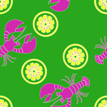 pattern with cartoon lobster and lemon on green, colored seafood background, wallpaper with underwater inhabitants