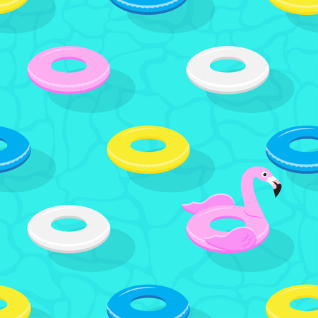 Seamless pattern with Flamingo inflatable pool floats. Vector illustration.