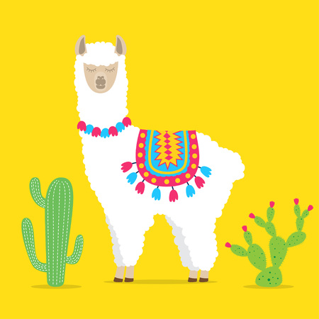 cute drawn llama or alpaca. Funny animal. Vector Illustration on bright background