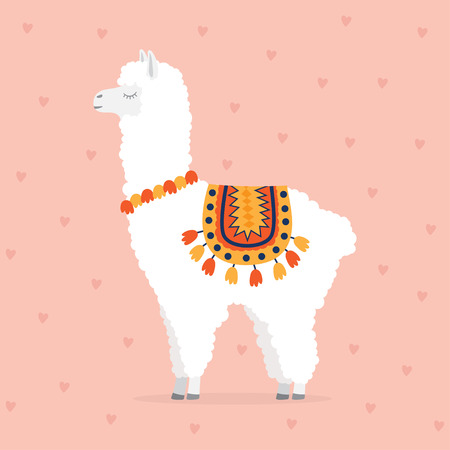 cute drawn llama or alpaca. Funny animal. Vector Illustration on bright background