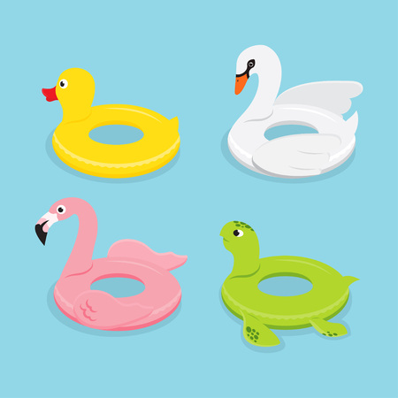 Summer set. Swimming pool floats. Inflatable animals flamingo, duck, turtle, swan rubber toys, vector illustration