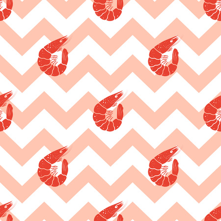 seamless pattern with shrimp on pink stripes, shrimp background for design of fabrics, tourist things, clothes and anything, wallpaper with underwater inhabitants Illustration