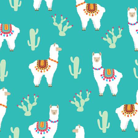 White llama alpaca and cactus seamless pattern. Vector illustration