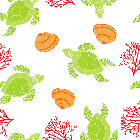 pattern with fun shells, corals and shells on white, cute background with sea turtles, wallpaper with underwater inhabitants Stock Illustratie