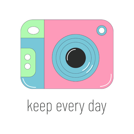 banner with color photo device and inscription keep every day on white, bright background with camera, card with color photo technique Illustration
