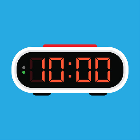 Digital alarm clock icon. Vector Illustration, on blue background 向量圖像